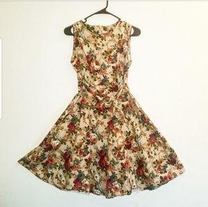 Dresses & Skirts - Unique Floral Flair Dress with waist tie